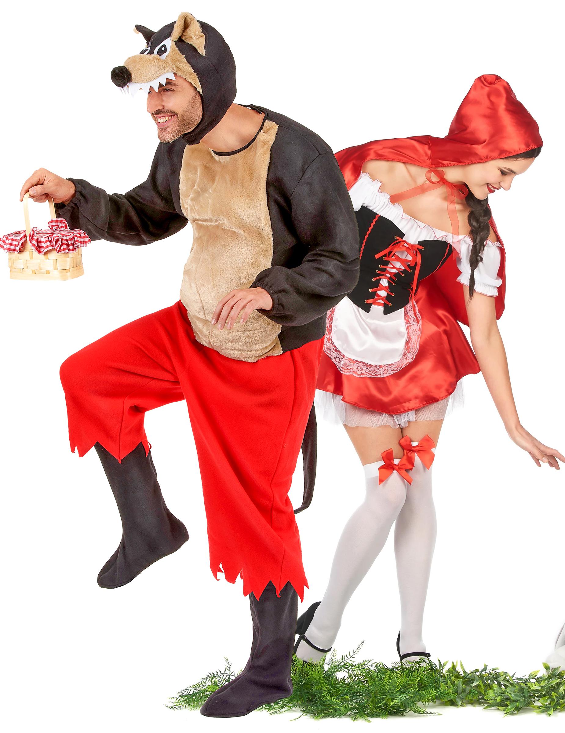 Kostume pige i rød kjole på ryggen af en ulv, køb Kostumer