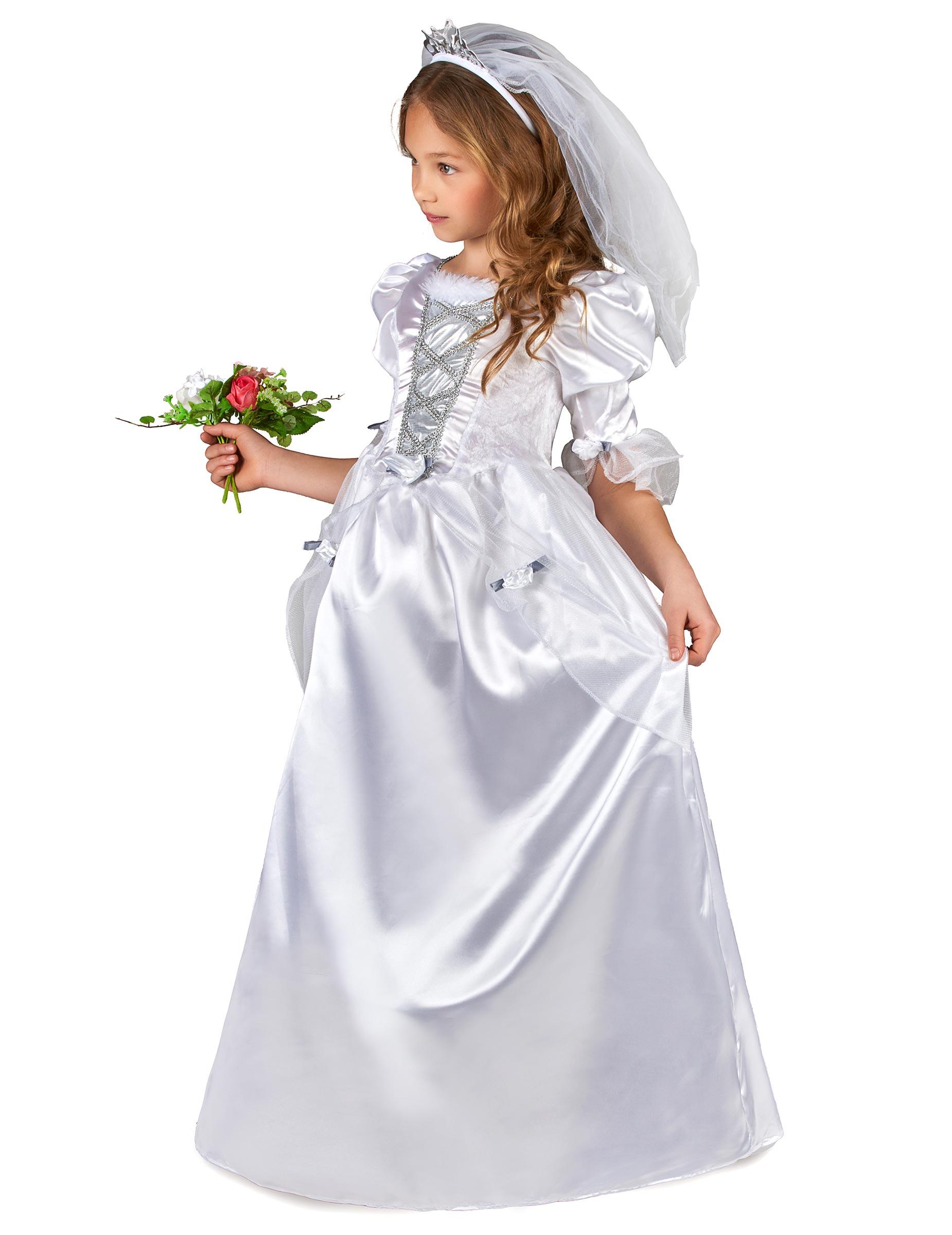 55373bca Kostume brudekjole til piger med slør, køb Kostumer til børn på ...