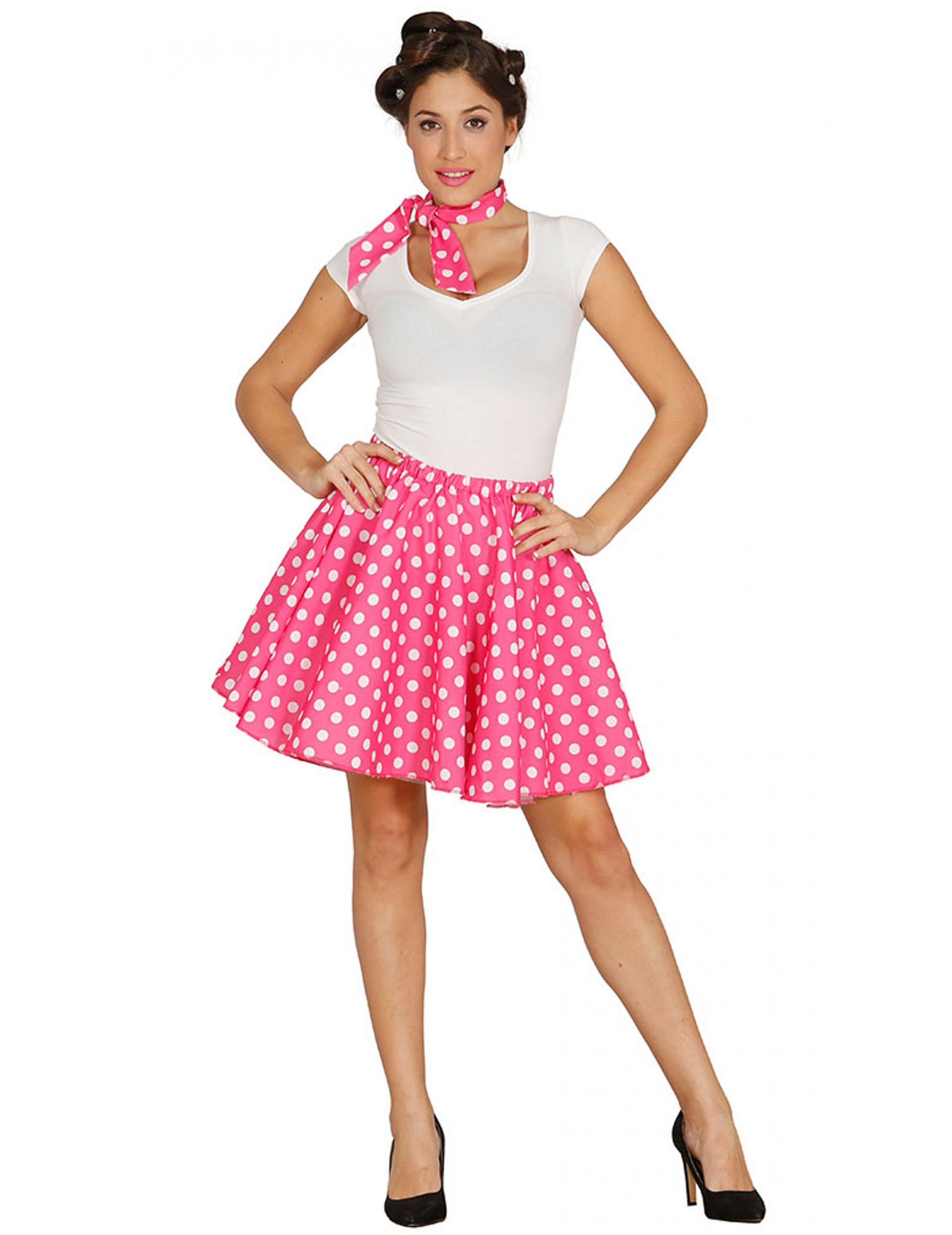 50'er kjole Lyserød Kostume One size