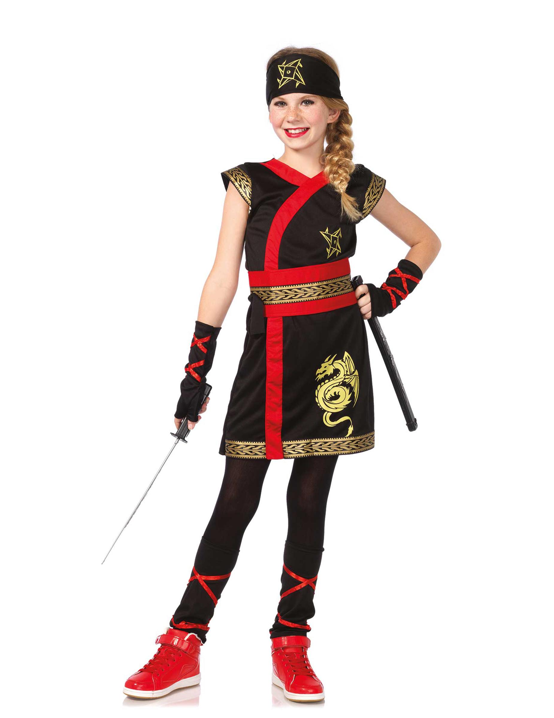 a0c1b64aa1f Guldfarvet drage-ninja kostume, køb Kostumer til børn på Vegaoo.dk