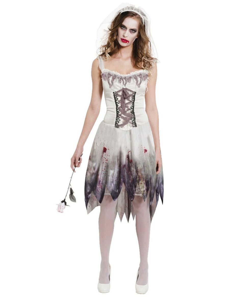 Kostume blod-plettet zombiebrud Halloween 2cbf3d3055a6c