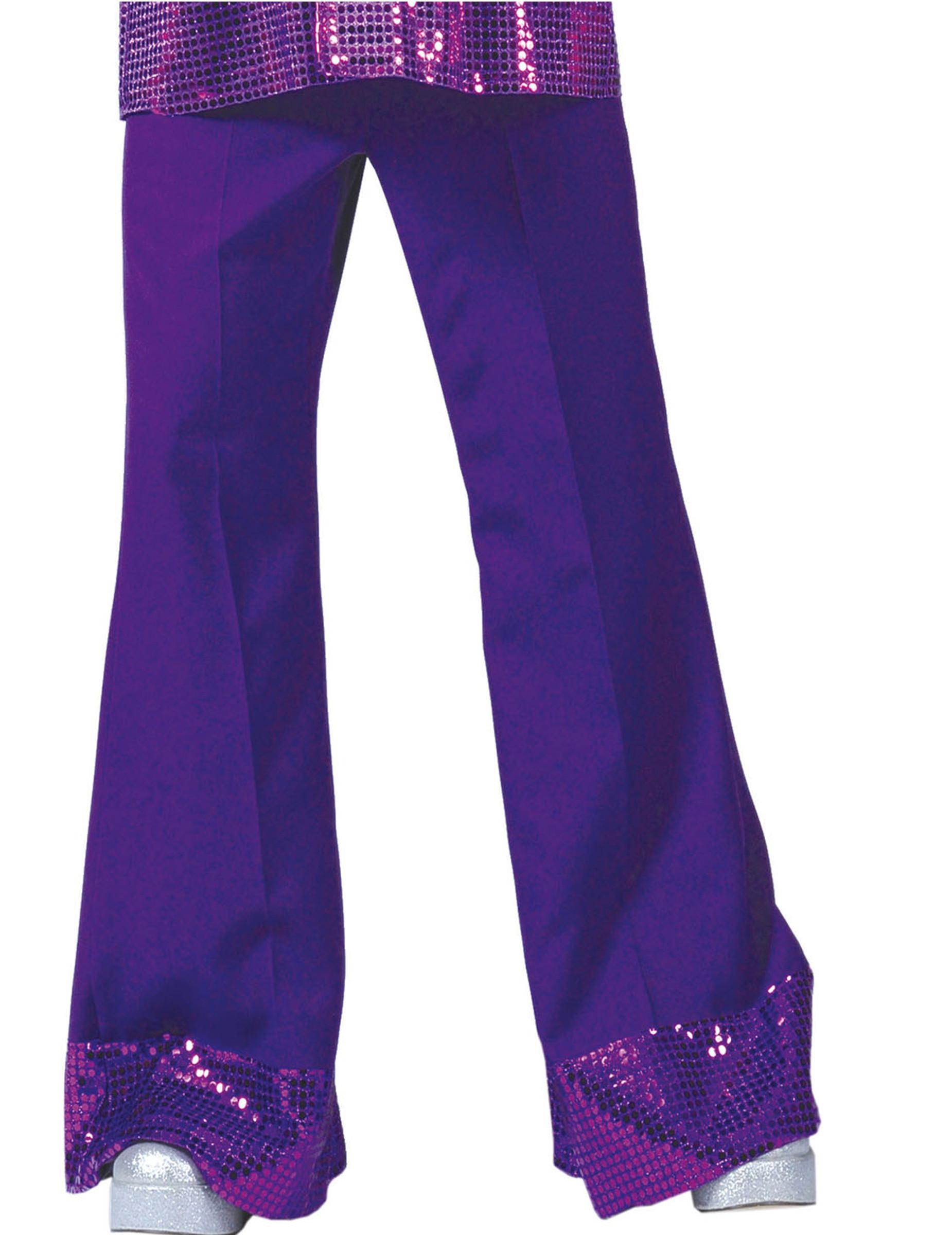 Bukser disco lilla med pailletter på bunden til mænd, køb