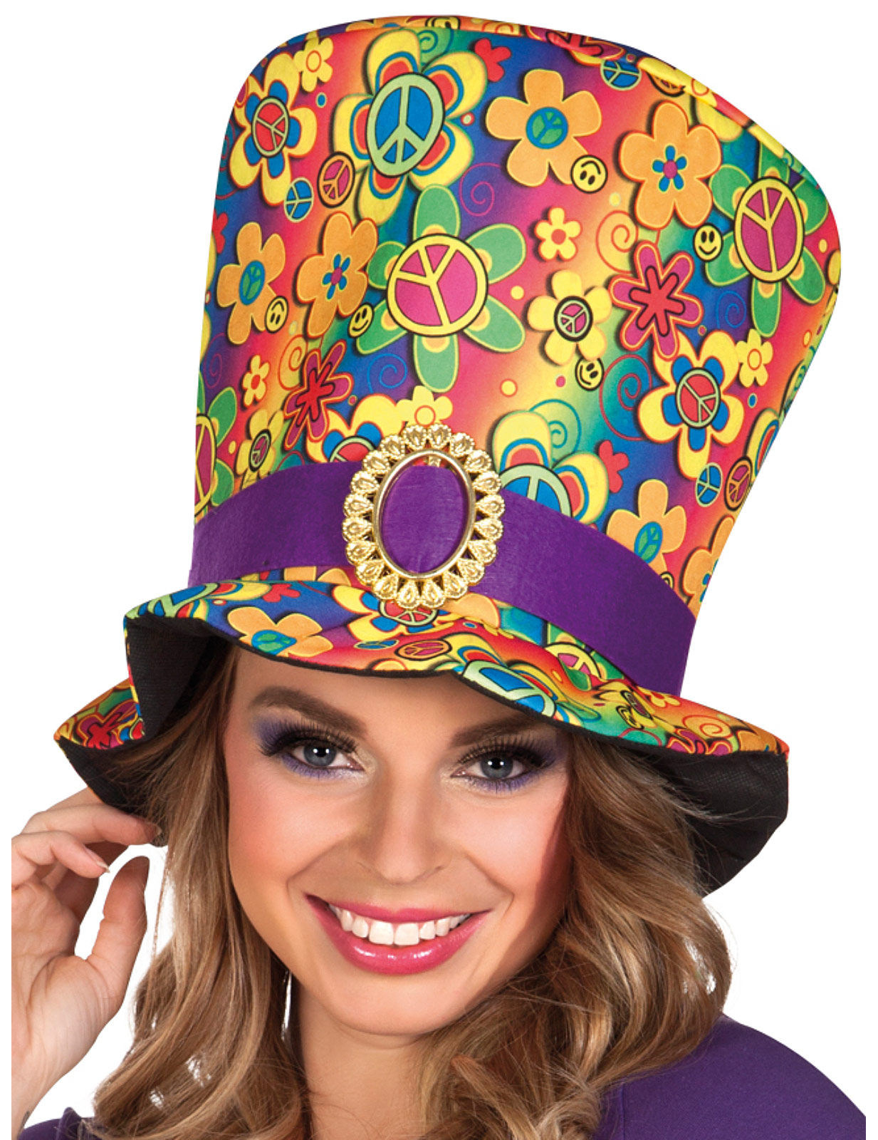 27af1a415246 Tophat multifarvet hippie til voksne