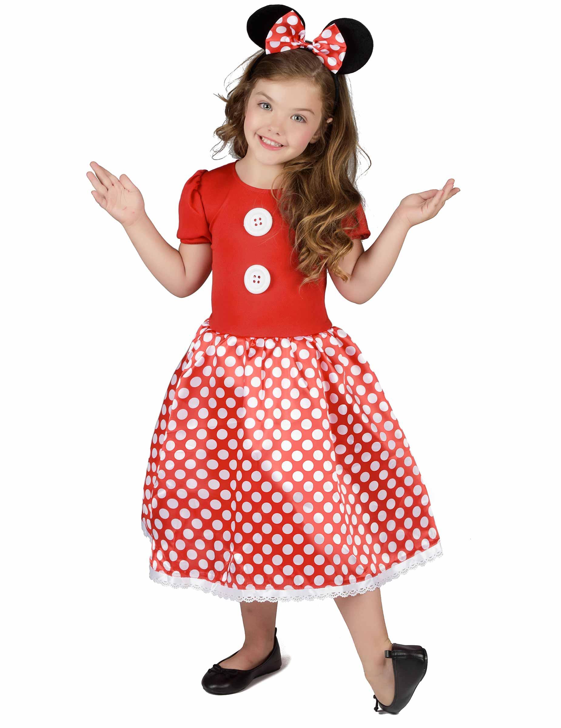 b0965e0ae14a Rødt mussekostume med hvide prikker - Kjole til piger