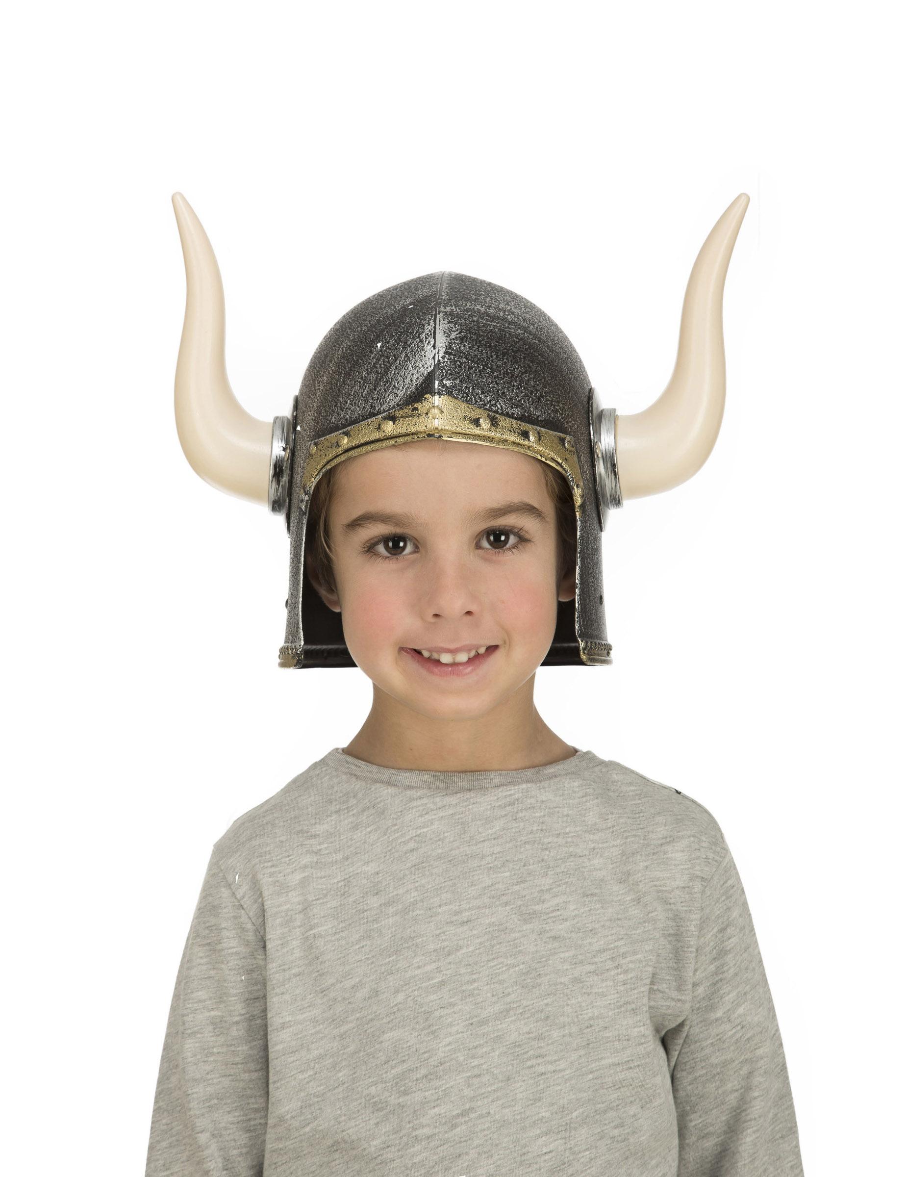 Vikingehjelm med horn til børn, køb Hatte på Vegaoo.dk