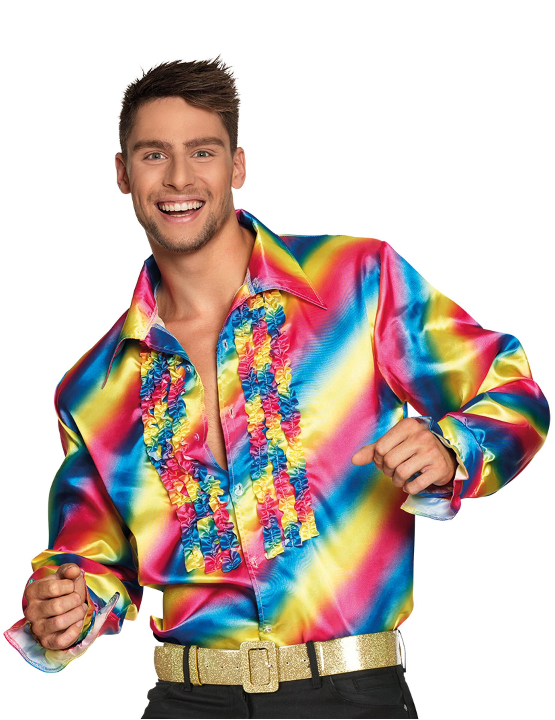 89ed0115cfc Skjorte disco regnbue til voksne, køb Kostumer til voksne på Vegaoo.dk