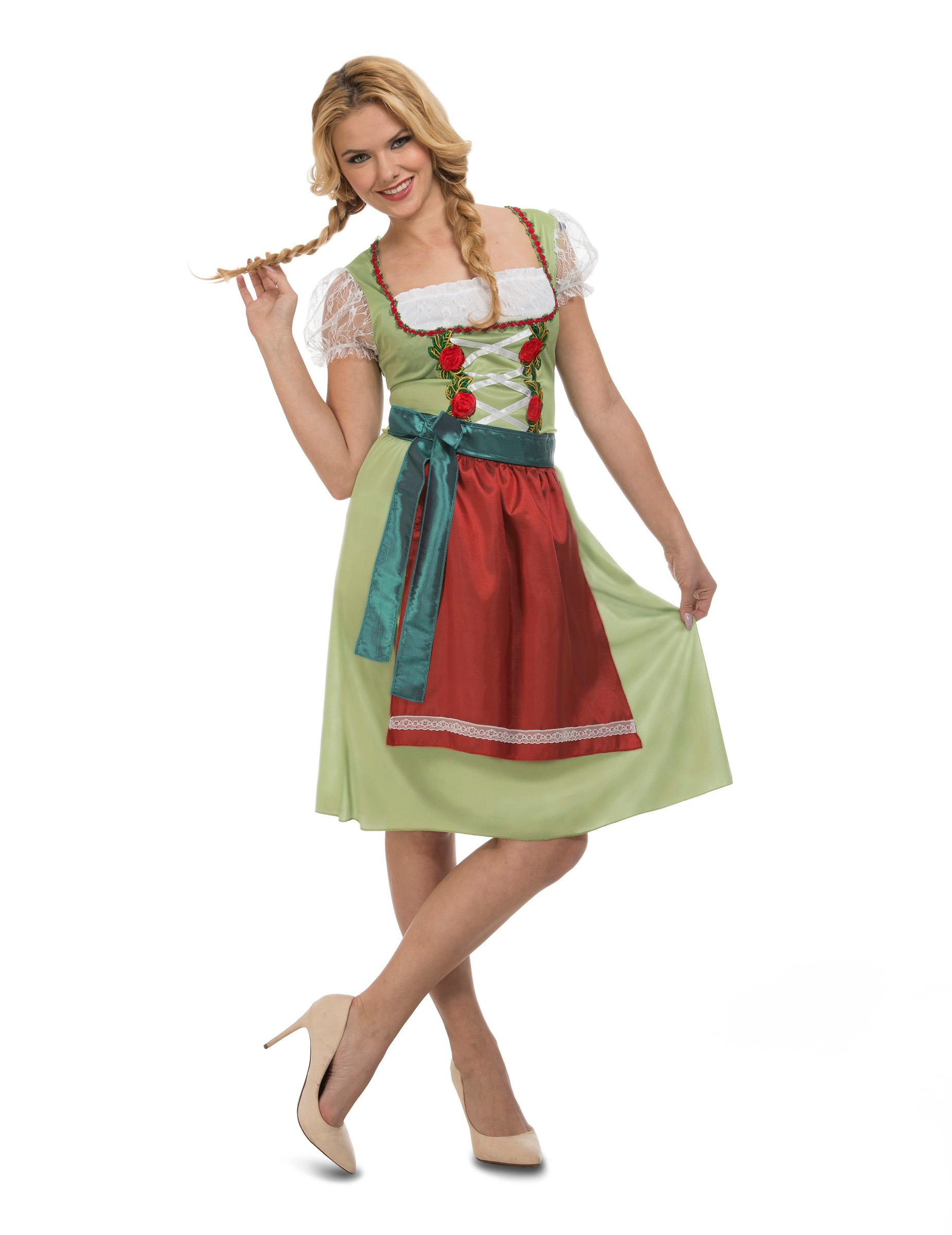 Oktoberfest kjole grøn - kvinde, køb Kostumer til voksne