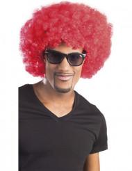 Rød afro/klovneparyk med volumen voksen