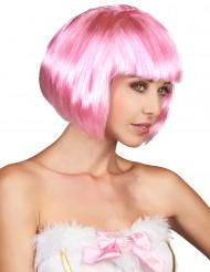 Kort lyserød paryk