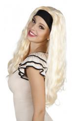 Blond lang paryk med pandebånd