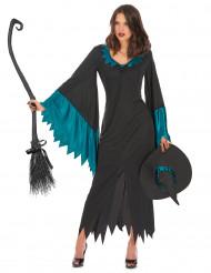 Halloween blåt heksekostume til kvinder