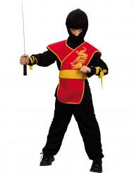 Krigens ninja - Rødt og sort ninjakostume til drenge