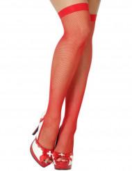 Røde netstrømper dame