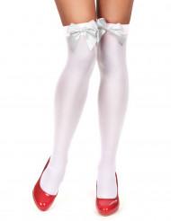 Hvide strømper med hvid sløjfe dame