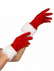 Røde handsker med hvid pels til Nissemor