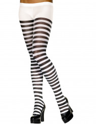 Sort- og hvidstribede strømpebukser dame