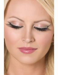 Sorte korte falske øjenvipper sølvfarvede ved roden voksen