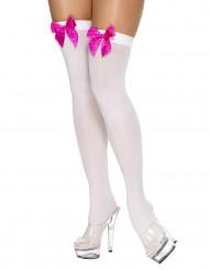 Strømper hvide med sløjfe lyserød til kvinder