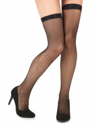Finmaskede sorte netstrømper dame