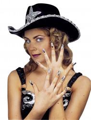 Sæt sølvfarvede kunstige negle