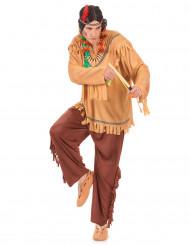 Den vilde indianer - Brunt indianerkostume til voksne