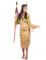 Den lyse indianer - Beige indianerkostume til kvinder