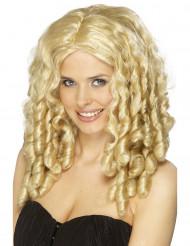 Lang blond paryk med slangekrøler til kvinde