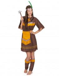 Brun og orange indianerkjole til kvinder