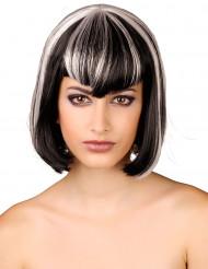 Kort sort og hvid paryk til kvinder