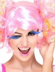 Blå lange øjenvipper med neonfjer Voksne