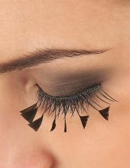 Korte sorte øjenvipper med sorte fjer