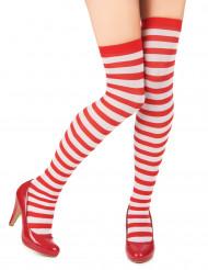 Rød og hvidstribet strømpebukser til kvinder