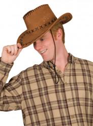 Brun cowboyhat med mønster til voksne
