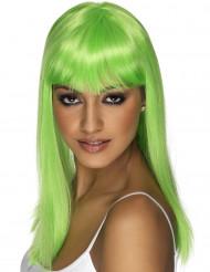 Neongrøn lang paryk med pandehår