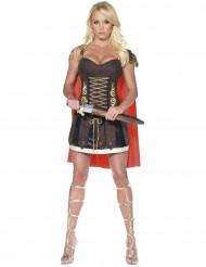 Mørkebrunt gladiatorkostume til kvinder