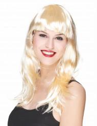Lang blond paryk med pandehår Dame