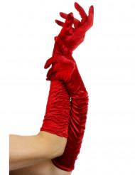 Handsker mellemlange rød satin med rynk kvinde