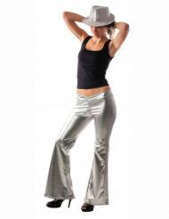 Sølvskinnende diskobukser kvinde