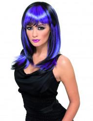 Paryk med langt sort og blå-lilla hår