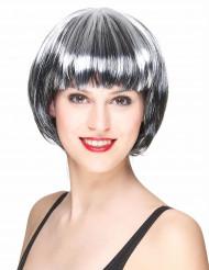 Paryk sort og hvidt kort hår