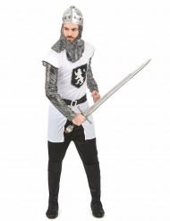 Hvidt og sølv ridderkostume til mænd