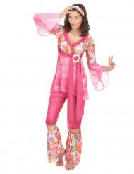 Lyserødt hippiekostume til kvinder