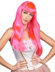 Paryk langt hår lyserød
