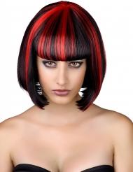 Paryk sort med røde striber Halloween