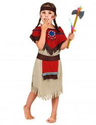 Beige og rød indianerkostume til piger