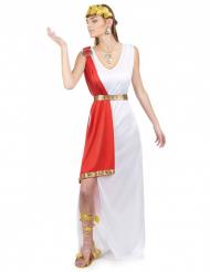 Romersk gudindekostume i hvidt og rødt