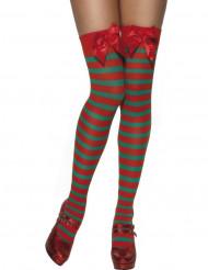 Knæstrømper rød- og grønstribet Jul Kvinde
