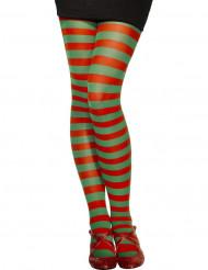Strømpebukser med røde og grønne striber