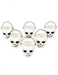 Pakke med 6 glas kranier Halloween