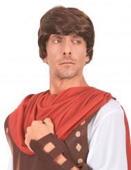 Brun herreparyk med romersk frisure